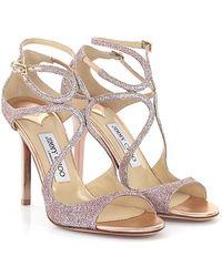 1898c7b4e374 Jimmy Choo - Sandals Calfskin Textile Glitter Rose - Lyst