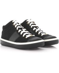 Jimmy Choo - Trainers Bells Mid Cut Suede Leather Black Triangle Embossed - Lyst