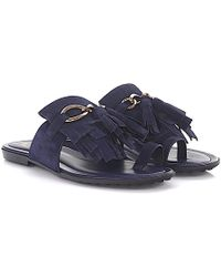 Tod's - Tods Sandals Infradito Catena Suede Blue Fringes Bobbles - Lyst