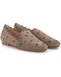 Unützer - Flat Shoes Calfskin Perforated Suede Taupe - Lyst