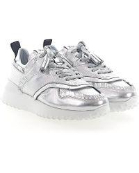 Tod's - Sneakers A0w600 Calfskin Fringe Hole Pattern Metallic Silver - Lyst