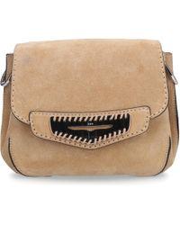 Tod's - Women Handbag Srr010 Suede Logo Silver Beige - Lyst