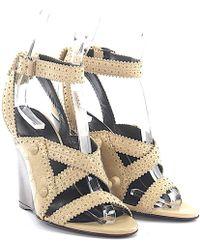 80aa378cae2 Balenciaga - Wedge Sandals Leather Beige Peekaboo Design - Lyst