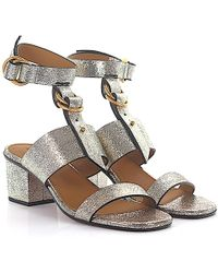 Chloé - Ankle Strap Sandals Leather Gold Embossed - Lyst