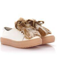 Agl Attilio Giusti Leombruni - Trainers D930006 Leather White Rabbit Fur Velvet Laces Lamb Fur - Lyst