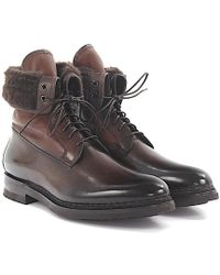 santoni Boots 11647 leather polished lambskin