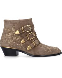 Chloé - Susanna Stamped Leather Ankle Boots - Lyst