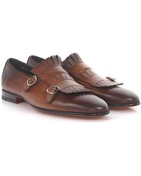 Santoni   Double-monk-strap 13663 Leather Brown Foldover-fringes Hand Sewn   Lyst