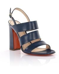 Santoni - Sandals With Ankle Strap Leather Blue - Lyst