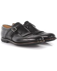 Church's - Single-monk-strap Brogue Shanghai Leather Black Frays - Lyst