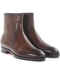 Santoni - Ankle Boots Calfskin Smooth Leather Finished Brown - Lyst