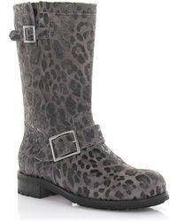 47930d1d268 Jimmy Choo - Boots Calfskin Suede Decorative Buckle Lion Print Gray - Lyst