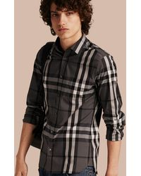 Burberry - Check Stretch Cotton Shirt Charcoal - Lyst