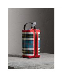 Tartan Cotton Clutch Bag in Ink Blue and Yellow Cotton Burberry zRaIEtRZM
