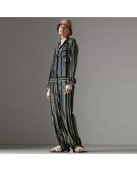 Burberry - Striped Cotton Silk Jumpsuit - Lyst
