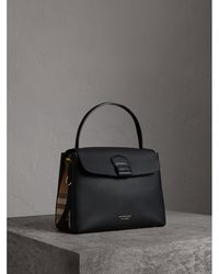 6e1eae81c834 Lyst - Burberry The Medium Alchester In House Check And Leather in Gray