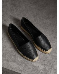 Burberry - Embossed Grainy Leather Espadrilles - Lyst