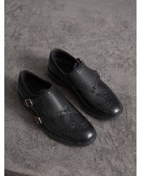 d9ce85771db Lyst - Burberry Black Suede House Check Slipper Flats in Black for Men