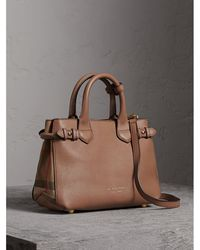 Burberry - The Small Banner In Leather And House Check Dark Sand - Lyst
