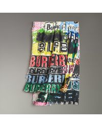 Burberry - Tag Print Wool Silk Large Square Scarf - Lyst