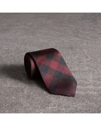 Burberry | Modern Cut Check Silk Tie Deep Claret | Lyst