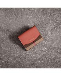 Burberry - House Check And Leather Wallet Cinnamon Red - Lyst
