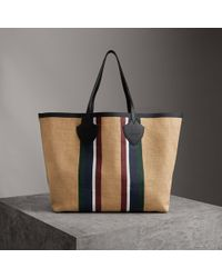 Burberry - The Giant Tote In Striped Jute - Lyst