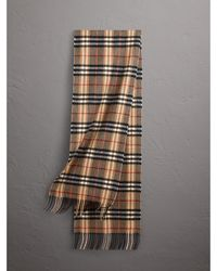 Burberry - Check Cashmere Scarf In Camel | - Lyst