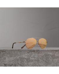 Burberry - Check Detail Mirrored Pilot Sunglasses | - Lyst