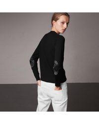 Burberry - Check Detail Merino Wool Cardigan - Lyst