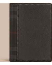 Burberry Sport - Check Detail Leather Passport Cover Black - Lyst