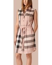 Burberry - Exploded Check Cotton Shirt Dress - Lyst