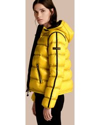 Burberry Sport - Glossy Hooded Puffer Jacket With Sporty Detailing - Lyst