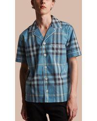 Burberry - Cotton Poplin Pyjama-style Shirt Lt Cornflower Blue - Lyst