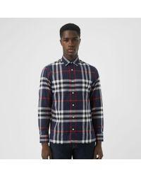 72352a2a4e77 Burberry Brit Ecclestone Check Flannel Shirt in Gray for Men - Lyst