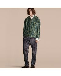 Burberry - Striped Silk Cotton Pyjama-style Trousers - Lyst