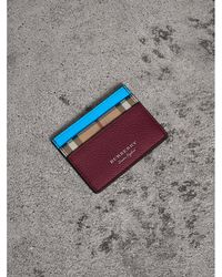Burberry - Haymarket Check And Two-tone Leather Card Case - Lyst