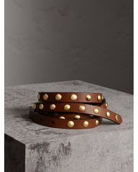 Burberry - Studded Bridle Leather Double-wrap Belt Tan - Lyst