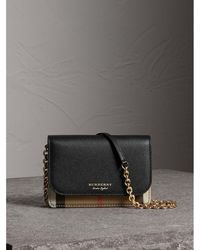 e8a393c88037 Burberry - Leather And House Check Wallet With Detachable Strap - Lyst