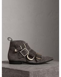 Burberry - Buckle Detail Suede Ankle Boots - Lyst