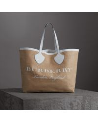 Burberry - The Giant Tote In Logo Print Jute - Lyst
