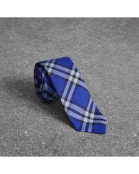 Burberry - Slim Cut Check Cotton Tie - Lyst