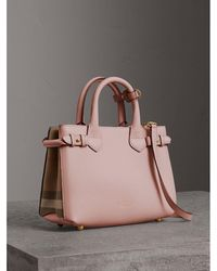 dcb8e24802f8 Burberry - The Small Banner In Leather And House Check Pale Orchid - Lyst