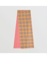 Burberry - Écharpe en laine et soie à motif Vintage check et color-block - af4f3d499ca