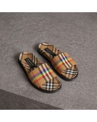 c60ce941fa6b36 Burberry Crossover Leather Sandals for Men - Lyst