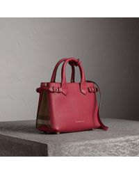 9126dfc281c6 Burberry The Medium Banner House Check And Leather Bag in Natural - Lyst