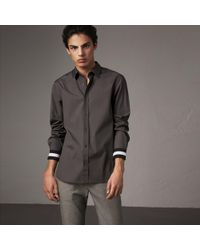 Burberry - Striped Cuff Stretch Cotton Shirt - Lyst