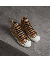 Burberry - Rainbow Vintage Check High-top Sneakers - Lyst