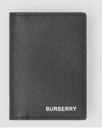 Burberry - Porte-cartes à rabat en cuir grainé - Lyst