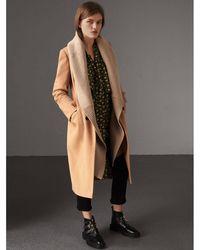 Burberry - Detachable Rib Knit Collar Cashmere Coat - Lyst